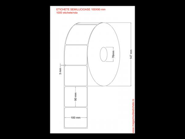 Etichete semilucioase 100x90mm 1000 etichete/rola