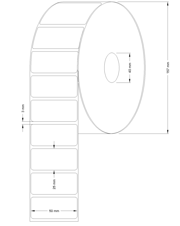Etichete semilucioase 50x25mm 5000 etichete/rola