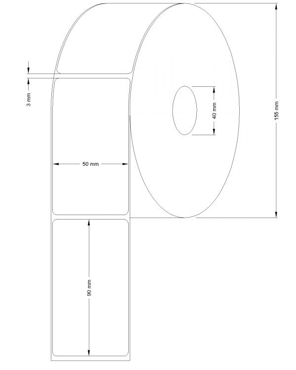 Etichete semilucioase 50x90mm 1500 etichete/rola