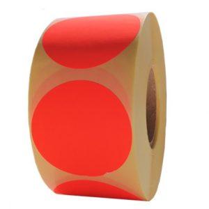 Role de etichete semilucioase rotunde rosu fluorescent 50mm 1000 etichete rola -1 rola