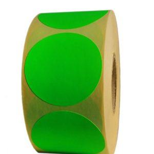 Role de etichete semilucioase rotunde verde fluorescent 50mm 1000 etichete rola - 1 rola