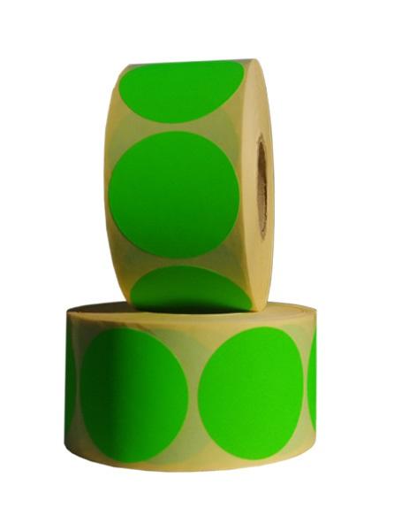 Role de etichete semilucioase rotunde verde fluorescent 50mm 1000 etichete rola - 2 role