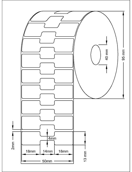 Role de etichete termice autoadezive bijuterii 50x13mm 2500 etichete - Dimensiuni rola