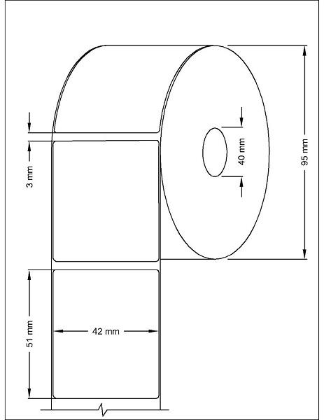 Role de etichete termice autoadezive 42x51mm 1000 etichete - Dimensiuni rola