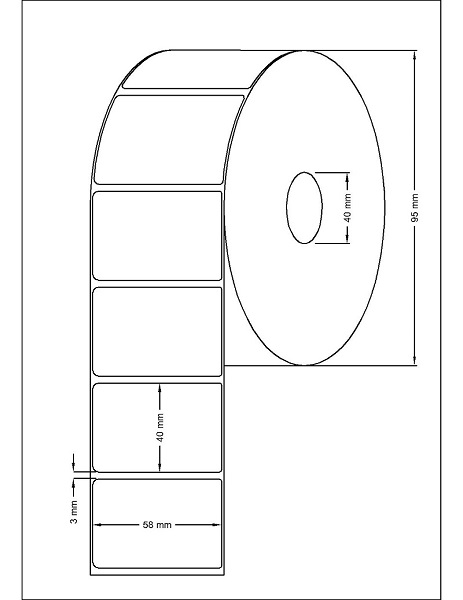 Role de etichete termice autoadezive 58x40mm 1000 etichete - Dimensiuni rola