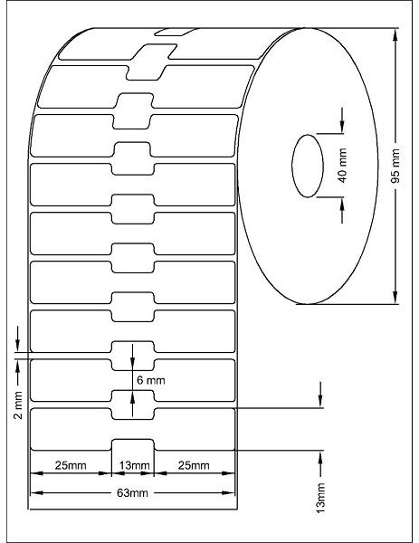 Role de etichete termice autoadezive bijuterii 63x13mm 2500 etichete - Dimensiuni rola