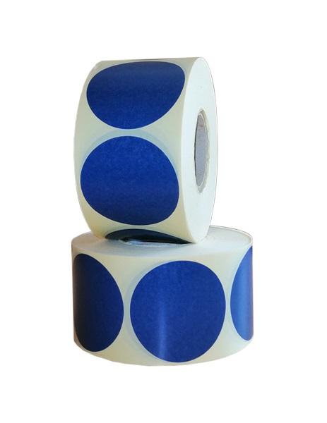 Role de etichete semilucioase rotunde albastru navy 50mm 1000 etichete rola - 2 role