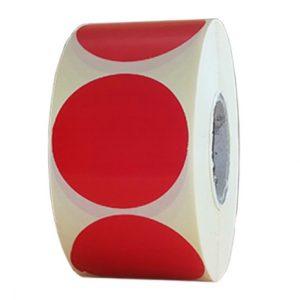 Role de etichete semilucioase rotunde rosu inchis 50mm 1000 etichete rola - 1 rola