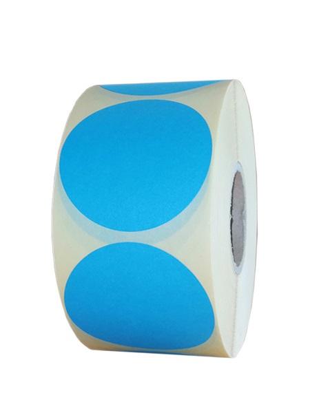 Role de etichete vellum rotunde albastru deschis 55mm 1000 etichete rola - 1 rola