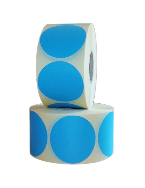 Role de etichete vellum rotunde albastru deschis 55mm 1000 etichete rola - 2 role