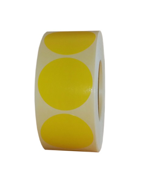 Role de etichete vellum rotunde galben 50mm 1000 etichete rola - 1 rola