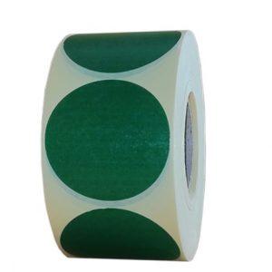 Role de etichete vellum rotunde verde inchis 50mm 1000 etichete rola - 1 rola