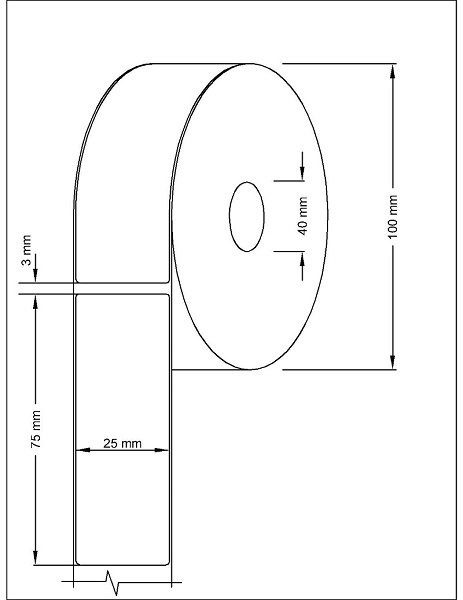 Role de etichete termice autoadezive 25x75mm 600 etichete - Dimensiuni rola