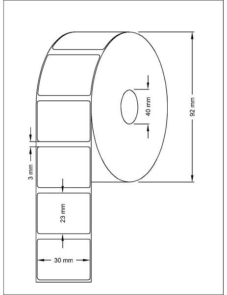 Role de etichete termice autoadezive 30x23mm 1500 etichete - Dimensiuni rola