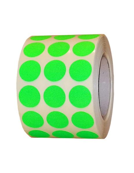 Role de etichete semilucioase, rotunde, verde fluorescent , 15mm, 3000 etichete - 1 rola
