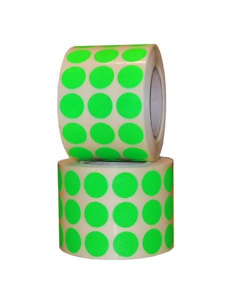 Role de etichete semilucioase, rotunde, verde fluorescent , 15mm, 3000 etichete - 2 role