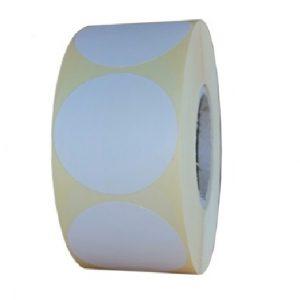 Role de etichete semilucioase rotunde albe 40mm 1000 etichete in rola - 1 rola