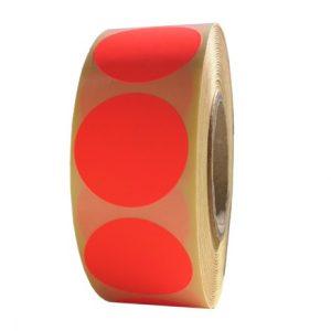 Role de etichete semilucioase rotunde rosu fluorescent 29mm 1000 etichete rola - 1 rola