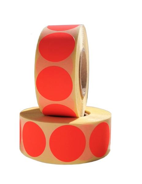 Role de etichete semilucioase rotunde rosu fluorescent 29mm 1000 etichete rola - 2 role