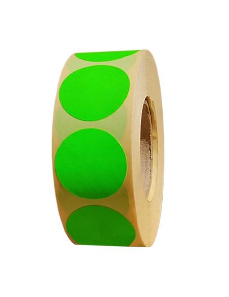 Role de etichete semilucioase rotunde verde fluorescent 29mm 1000 etichete rola - 1 rola