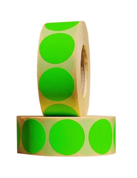 Role de etichete semilucioase rotunde verde fluorescent 29mm 1000 etichete rola - 2 role