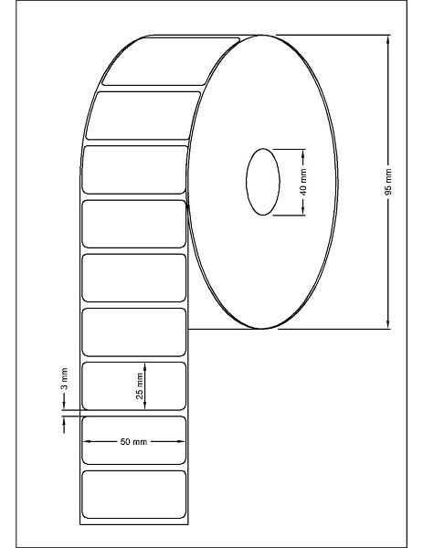 Role de etichete termice autoadezive 50x25mm 1500 etichete - Dimensiuni rola