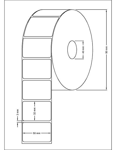 Role de etichete termice autoadezive 50x32mm 1000 etichete - Dimensiuni rola