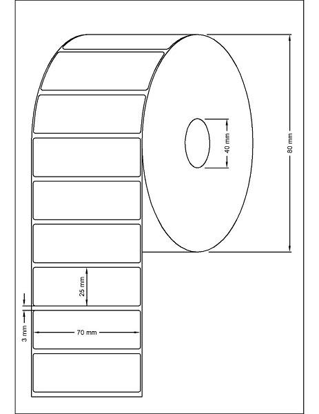 Role de etichete termice autoadezive 70x25mm 1000 etichete - Dimensiuni rola