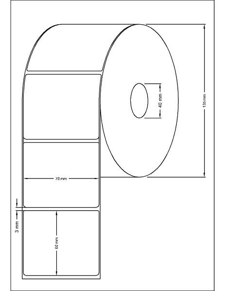 Role de etichete termice autoadezive 70x60mm 1500 etichete - Dimensiuni rola
