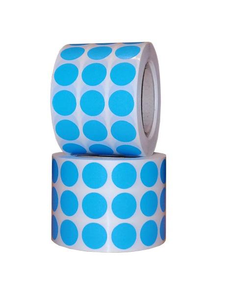 Role de etichete vellum, rotunde, albastru deschis , 15mm, 3000 etichete - 1 rola