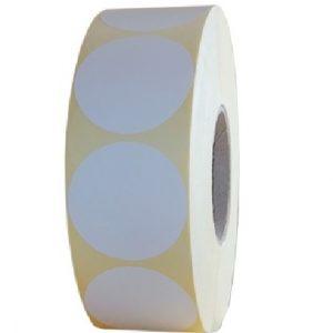 Role de etichete semilucioase rotunde albe 60mm 3000 etichete rola - 1 rola
