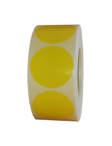 Role de etichete semilucioase rotunde galbene 35mm 1000 etichete rola - 1 rola