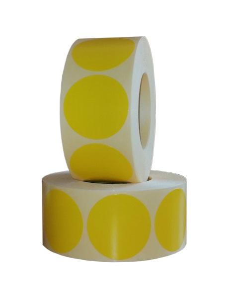 Role de etichete semilucioase rotunde galbene 35mm 1000 etichete rola - 2 role