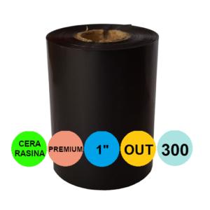 Ribon 110mm x 300m OUT Ceara-RASINA Premium Negru 1 inch