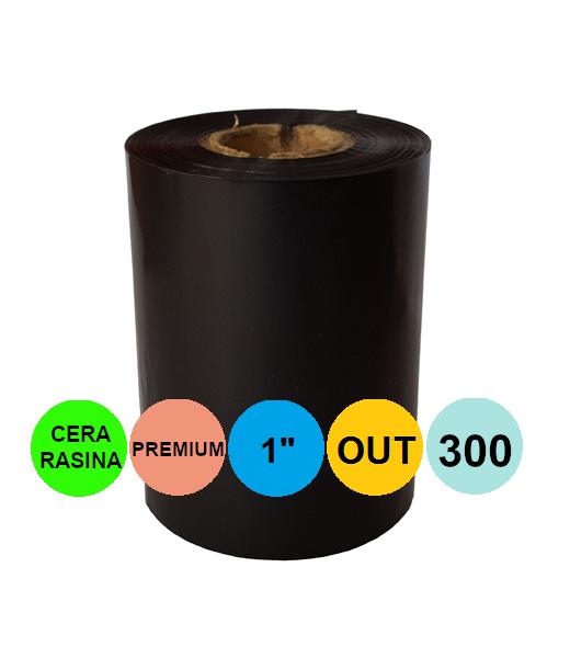 Ribon 60mm x 300m OUT Ceara-RASINA Premium Negru 1 inch