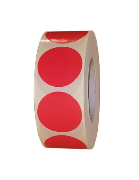 Role de etichete semilucioase rotunde rosii 29mm 1000 etichete rola - 1 rola