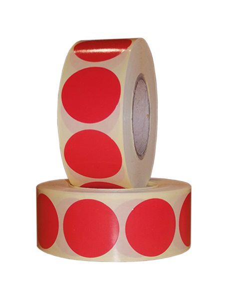 Role de etichete semilucioase rotunde rosii 29mm 1000 etichete rola - 2 role