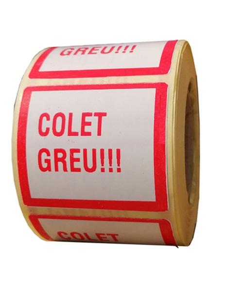 Role personalizate de etichete albe cu text rosu, 50x40mm 1000 etichete rola - greutate
