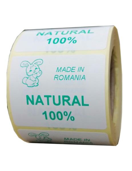 Role personalizate de etichete albe cu text verde, 50x40mm, 1000 etichete rola - suta la suta natural