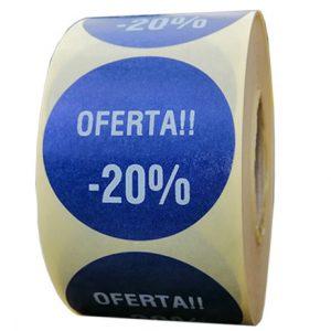 Role personalizate de etichete rotunde albastru navy cu text alb, 50mm 1000 etichete in rola - reducere 20 la suta