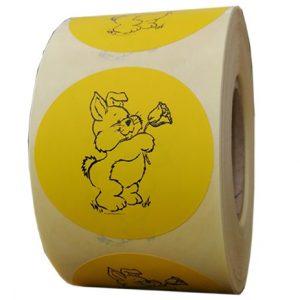 Role personalizate de etichete rotunde galbene cu text negru 50mm 1000 etichete rola - pentru Paste 2