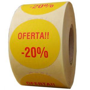 Role personalizate de etichete rotunde galbene cu text rosu, 50mm, 1000 etichete in rola - promotie