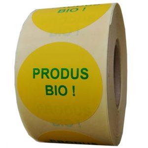 Role personalizate de etichete rotunde galbene cu text verde, 50mm, 1000 etichete in rola - produse bio