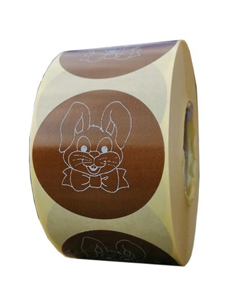 Role personalizate de etichete rotunde maro cu text negru 50mm 1000 etichete rola - Paste 1