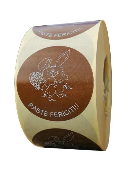 Role personalizate de etichete rotunde maro cu text negru 50mm 1000 etichete rola - Paste 2