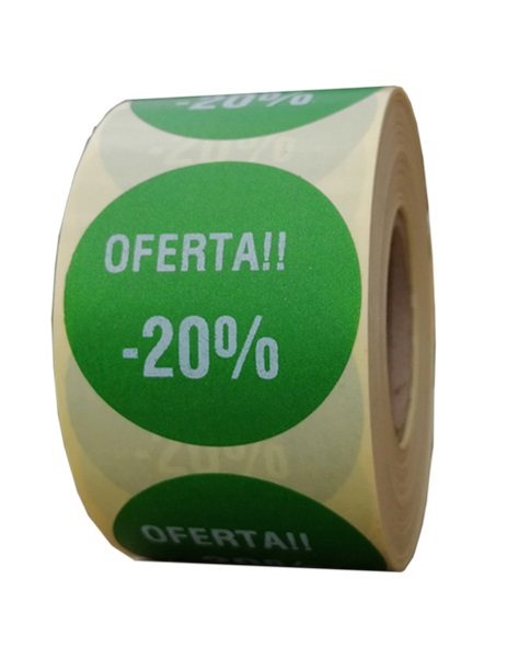 Role personalizate de etichete rotunde verzi cu text alb 50mm 1000 etichete in rola - oferta reducere 20 la suta