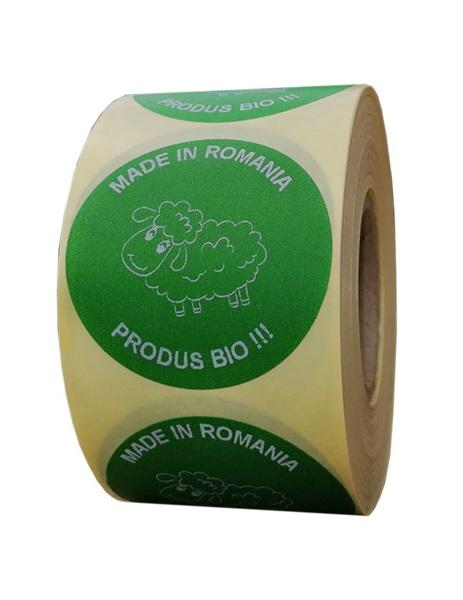 Role personalizate de etichete rotunde verzi cu text alb 50mm 1000 etichete in rola - produse bio