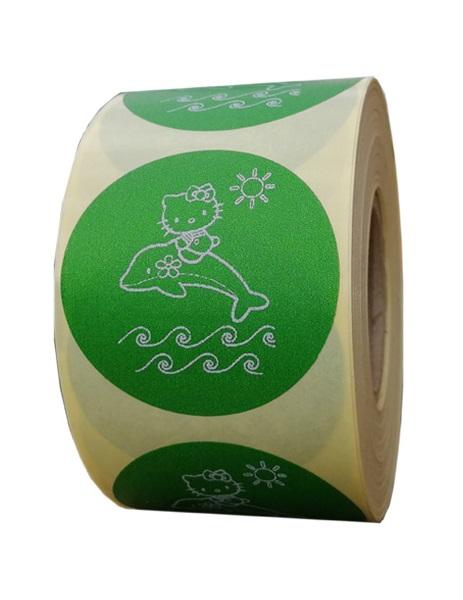 Role personalizate de etichete rotunde verzi cu text alb 50mm 1000 etichete in rola - vara