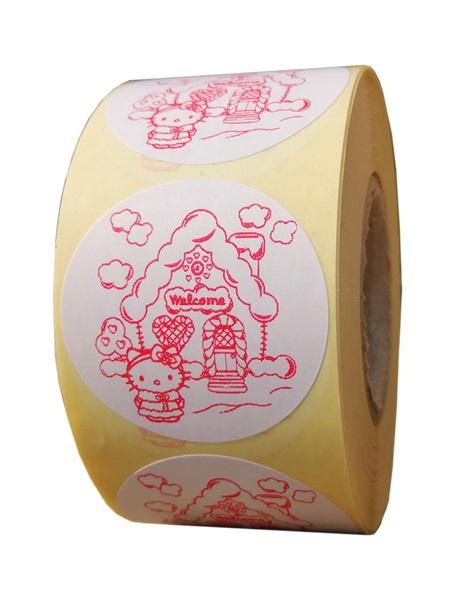 etichete rotunde albe cu text rosu 40mm pentru Craciun 1