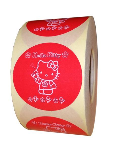 etichete rotunde rosii cu text alb 50mm general